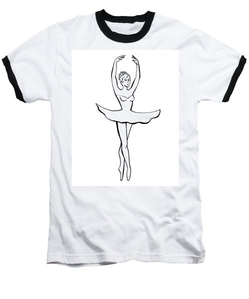 Graceful Ballerina Silhouette Baseball T-Shirt