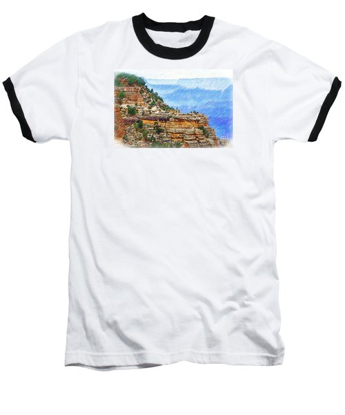 Baseball T-Shirt featuring the digital art Grand Canyon Overlook Sketched by Kirt Tisdale