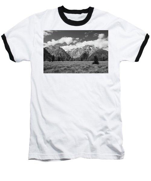 Grand Tetons In Black And White Baseball T-Shirt