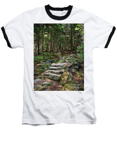 Granite Steps, Camden Hills State Park, Camden, Maine -43933 Baseball T-Shirt by John Bald