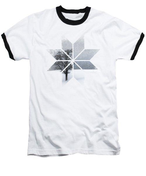 Graphic Art Snowflake Lonely Tree Baseball T-Shirt