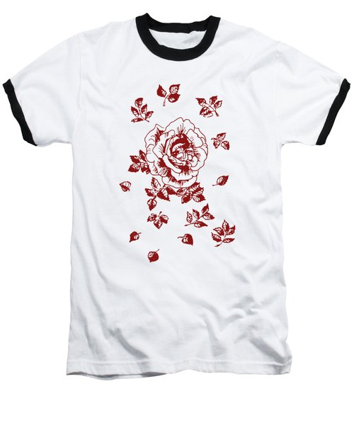 Graphic Red Rose With Leaves Baseball T-Shirt