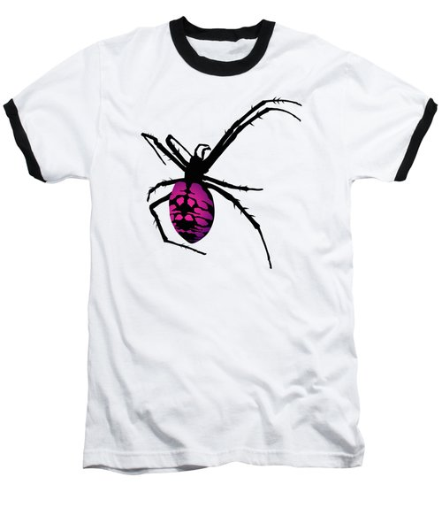 Graphic Spider Black And Purple Baseball T-Shirt by MM Anderson