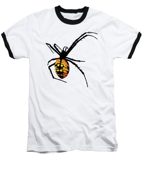 Graphic Spider Black And Yellow Orange Baseball T-Shirt by MM Anderson