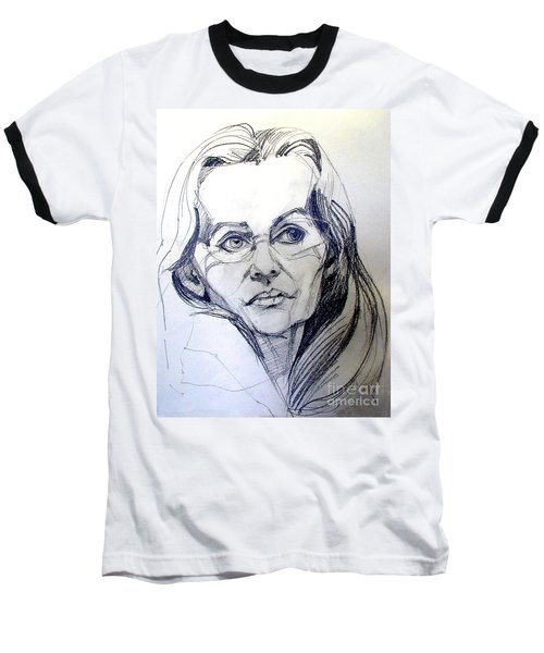 Baseball T-Shirt featuring the drawing Graphite Portrait Sketch Of A Woman With Glasses by Greta Corens