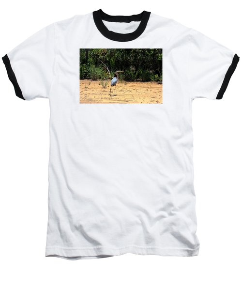 Baseball T-Shirt featuring the photograph Great Blue Heron On Beach by Sheila Brown