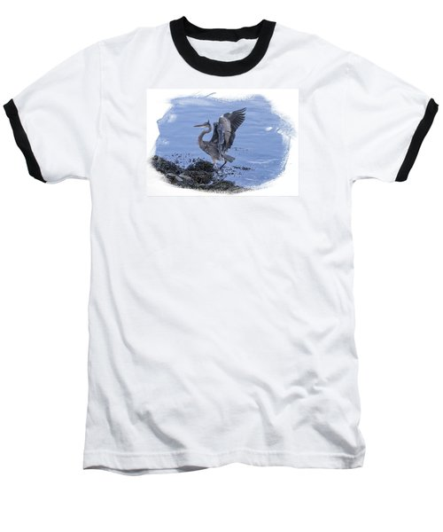 Baseball T-Shirt featuring the photograph Great Blue Heron On Cape Cod Canal 3 by Constantine Gregory