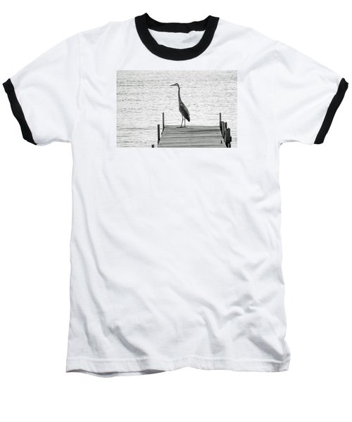 Great Blue Heron On Dock - Keuka Lake - Bw Baseball T-Shirt