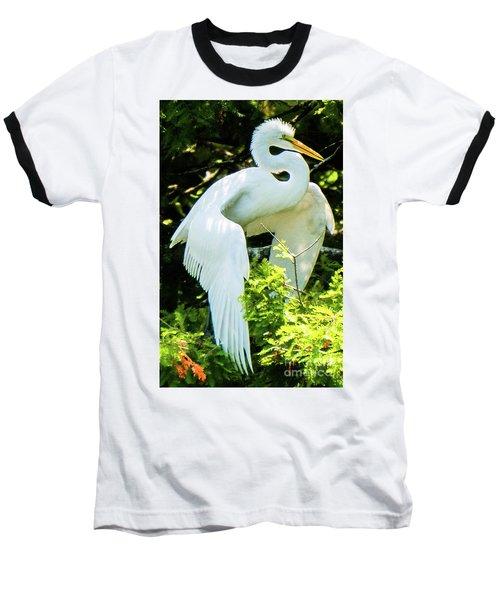Great Egret Stretching Baseball T-Shirt