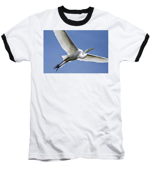 Great Egret Soaring Baseball T-Shirt by Gary Wightman
