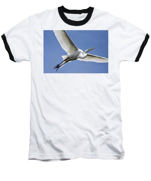 Great Egret Soaring Baseball T-Shirt by Gary Wightman