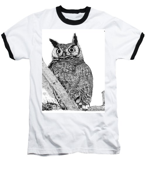 Great Horned Owl In A Tamarisk Baseball T-Shirt