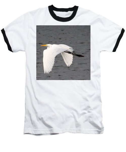 Baseball T-Shirt featuring the photograph Great White Egret In Flight by Laurel Talabere