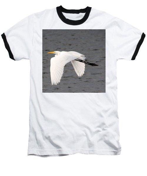 Great White Egret In Flight Baseball T-Shirt