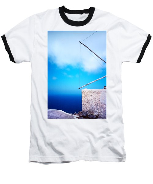 Greek Windmill Baseball T-Shirt