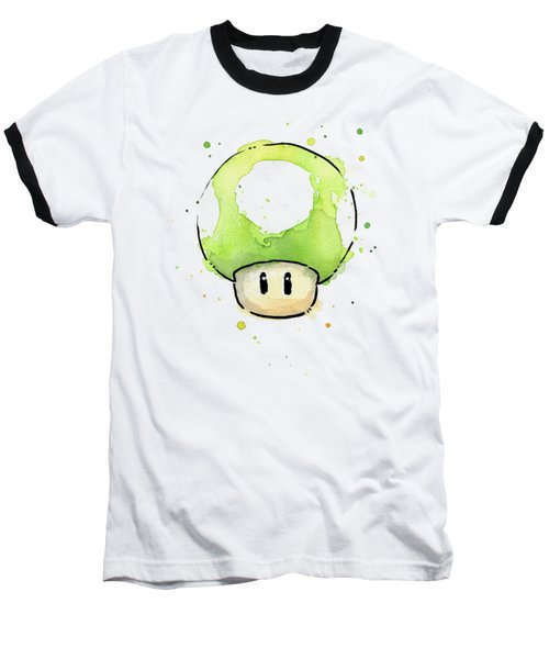 Green 1up Mushroom Baseball T-Shirt by Olga Shvartsur