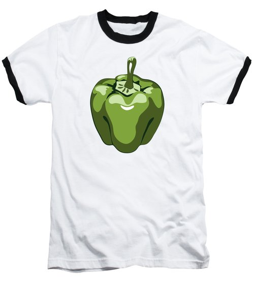 Green Bell Pepper Baseball T-Shirt by MM Anderson