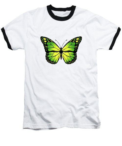 Green Butterfly Baseball T-Shirt by Gaspar Avila