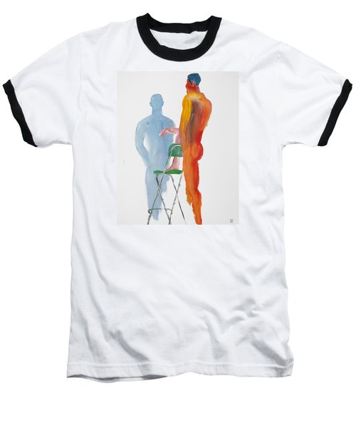 Green Chair Blue Shadow Baseball T-Shirt by Shungaboy X