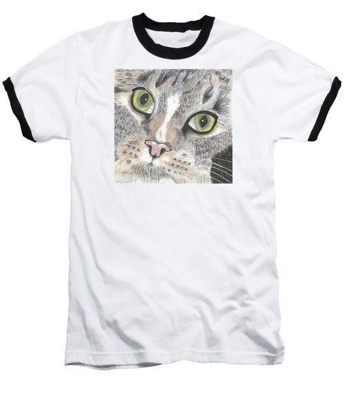 Baseball T-Shirt featuring the drawing Green Eyes by Arlene Crafton
