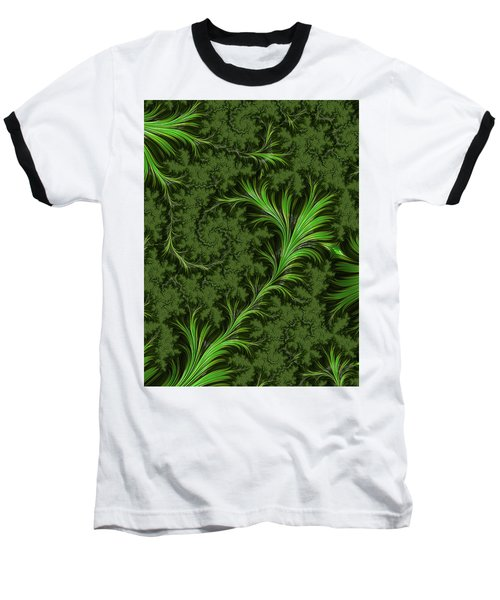 Green Fronds Baseball T-Shirt by Rajiv Chopra