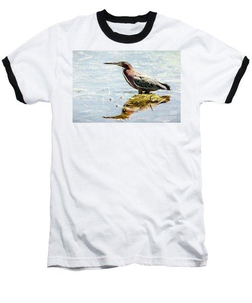 Green Heron Bright Day Baseball T-Shirt by Robert Frederick