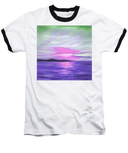 Green Skies And Purple Seas Sunset Baseball T-Shirt