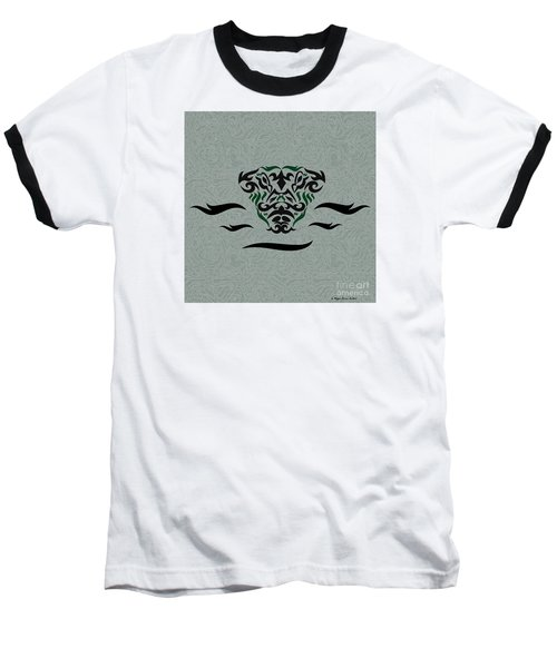Baseball T-Shirt featuring the digital art Green Tribal Gator by Megan Dirsa-DuBois