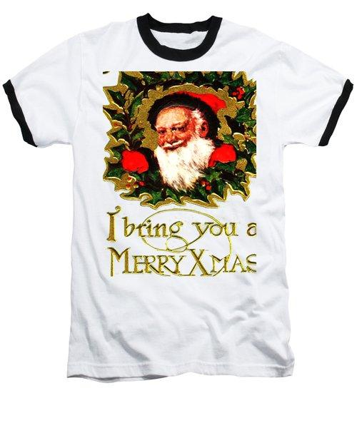 Greetings From Santa Baseball T-Shirt by Asok Mukhopadhyay