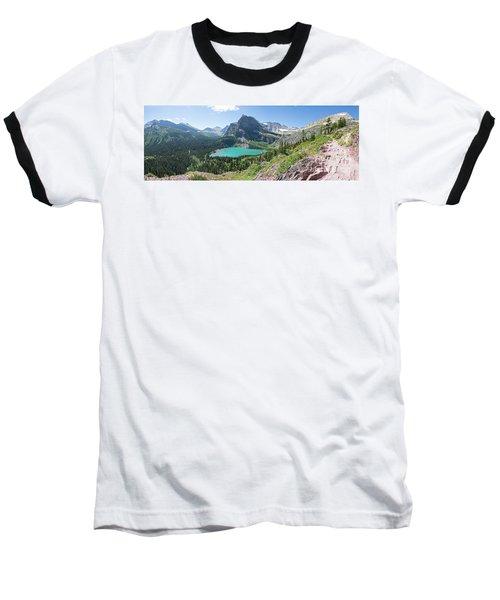 Grinnell Lake Panoramic - Glacier National Park Baseball T-Shirt