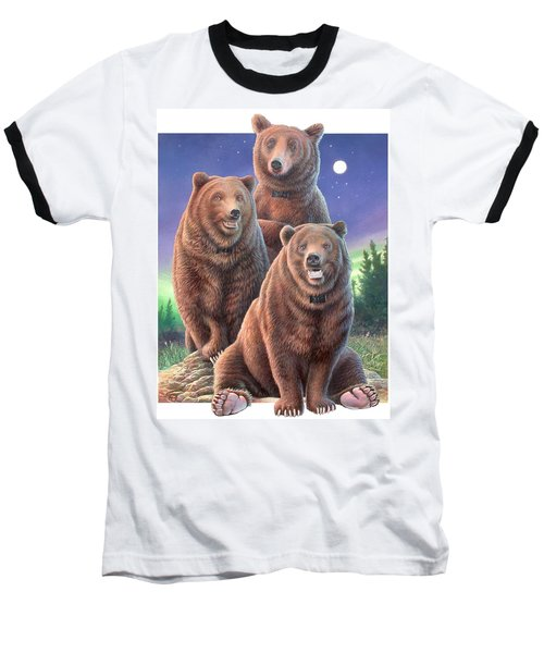 Grizzly Bears In Starry Night Baseball T-Shirt by Hans Droog