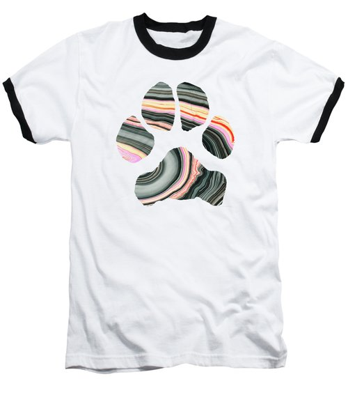 Groovy Dog Paw - Sharon Cummings  Baseball T-Shirt by Sharon Cummings