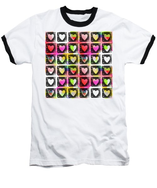 Baseball T-Shirt featuring the mixed media Groovy Hearts- Art By Linda Woods by Linda Woods