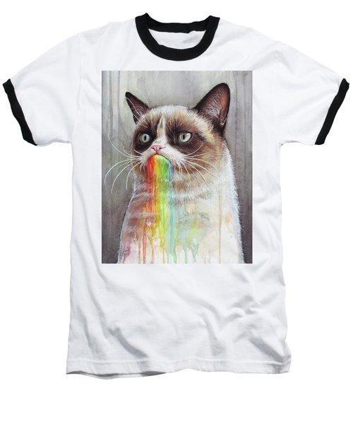 Grumpy Cat Tastes The Rainbow Baseball T-Shirt