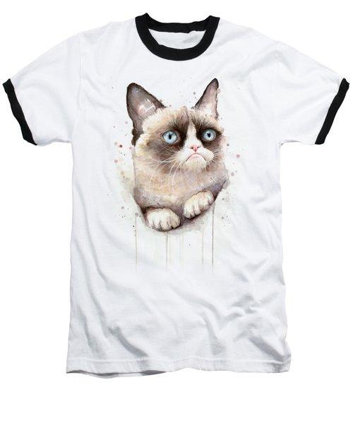 Grumpy Cat Watercolor Baseball T-Shirt