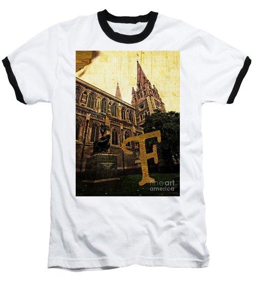 Grungy Melbourne Australia Alphabet Series Letter F Captain Matt Baseball T-Shirt