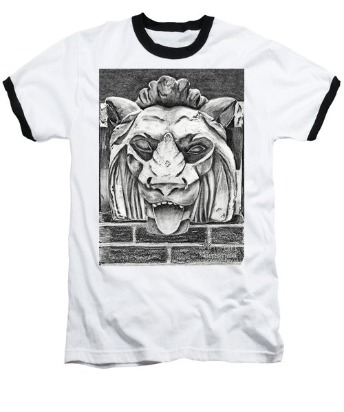 Guardian Lion Baseball T-Shirt by Terri Mills