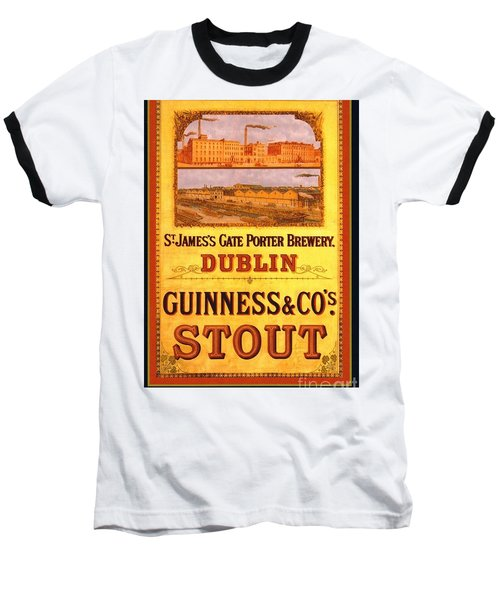 Baseball T-Shirt featuring the painting Guinness - Stout by Pg Reproductions