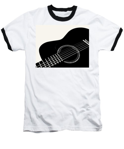 Guitar, Black And White,  Baseball T-Shirt by Jana Russon