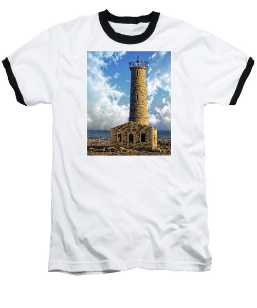 Gull Island Lighthouse Baseball T-Shirt