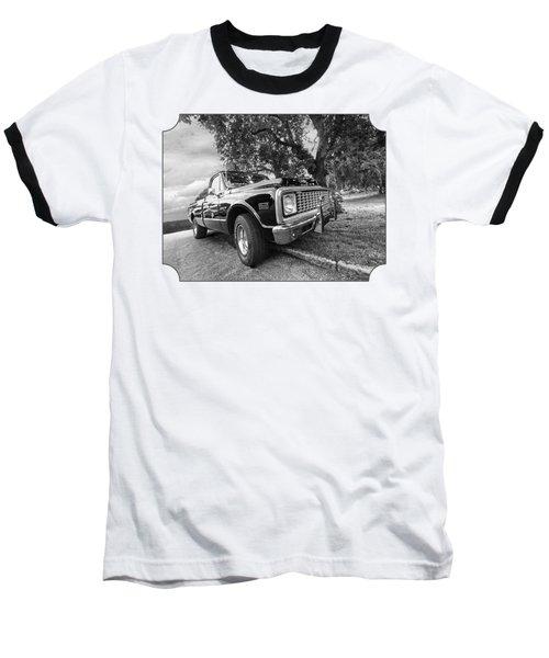 Halcyon Days - 1971 Chevy Pickup Bw Baseball T-Shirt by Gill Billington