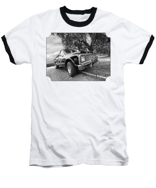 Halcyon Days - 1971 Chevy Pickup Bw Baseball T-Shirt