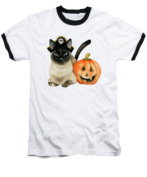 Halloween Siamese Cat With Jack O' Lantern Baseball T-Shirt