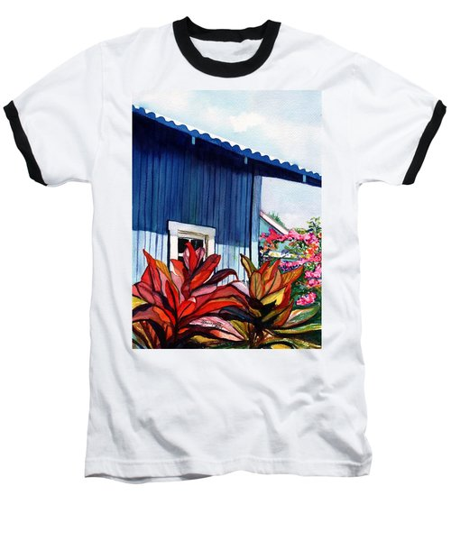 Baseball T-Shirt featuring the painting Hanapepe Town by Marionette Taboniar