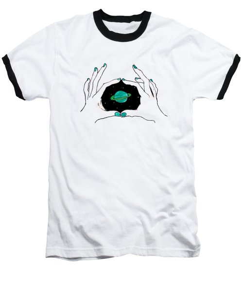 Hands Around Saturn Baseball T-Shirt by Lucy Frost