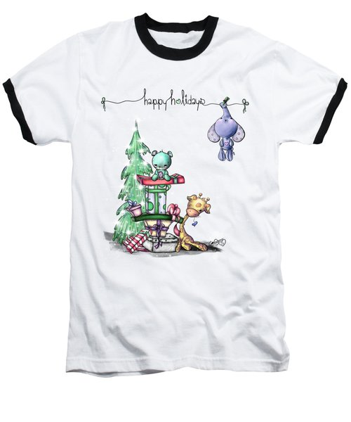 Hanging Around For The Holidays Baseball T-Shirt by Lizzy Love
