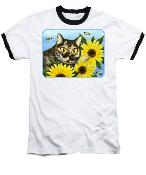 Hannah Tortoiseshell Cat Sunflowers Baseball T-Shirt by Carrie Hawks