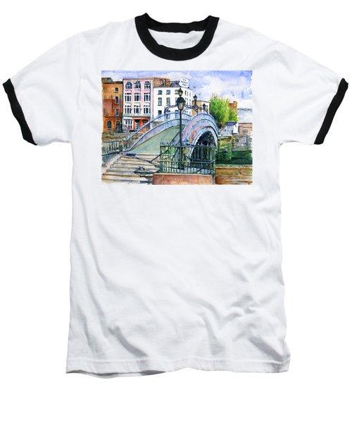 Ha'penny Bridge Dublin Baseball T-Shirt by John D Benson