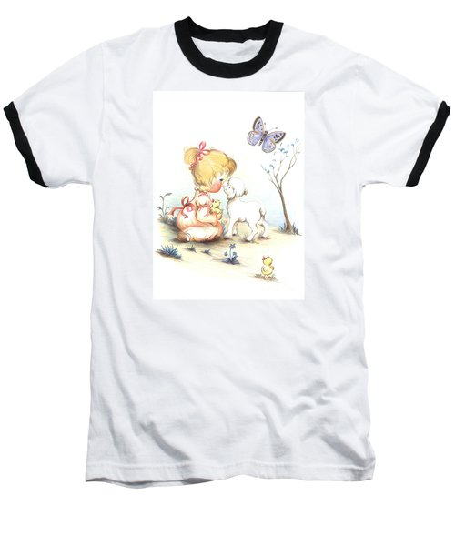 Baseball T-Shirt featuring the drawing Happiness by Sorin Apostolescu