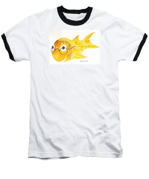 Happy Fish With Glasses Baseball T-Shirt by Fred Jinkins